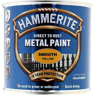 Hammerite Direct to Rust Metal Paint - Smooth Yellow Finish 250ML