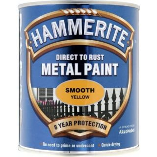 Hammerite Direct to Rust Metal Paint - Smooth Yellow Finish 750ML