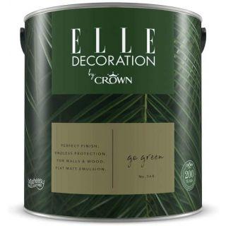 ELLE Decoration by CROWN Flat MATT Emulsion Paint - Go Green No 368 2.5L