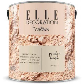 ELLE Decoration by CROWN Flat MATT Emulsion Paint - Powder Brush No 557 2.5L