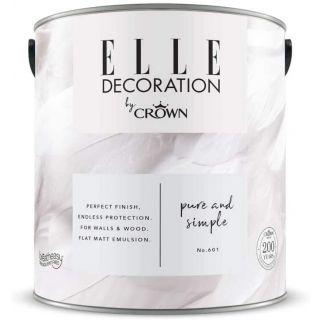 ELLE Decoration by CROWN Flat MATT Emulsion Paint - Pure & Simple No 601 2.5L