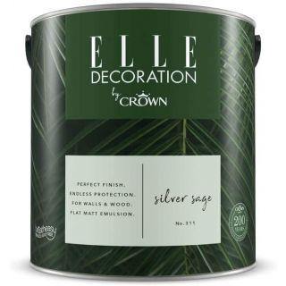 ELLE Decoration by CROWN Flat MATT Emulsion Paint - Silver Sage No 311 2.5L