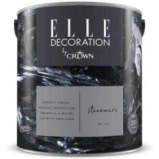 ELLE Decoration by CROWN Flat MATT Emulsion Paint - Stoneware No 162 2.5L