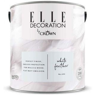 ELLE Decoration by CROWN Flat MATT Emulsion Paint - White Feather No 604  2.5L