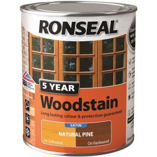 Ronseal 5 Year Wood Stain Natural Pine Satin 750ml
