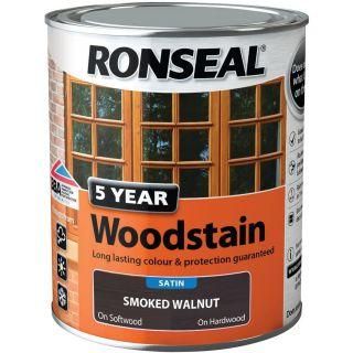 Ronseal 5 Year Smoked Woodstain Paint - Walnut 750 ml