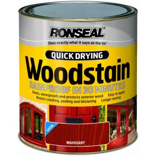 Ronseal Woodstain Quick Dry Satin - Mahogany 250ml