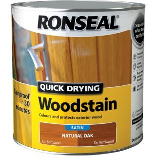 Ronseal Satin Finish Quick Dry Woodstain - Natural Oak 2.5 L