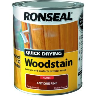 Ronseal Quick Drying Woodstain Antique Pine Gloss 750ml