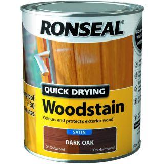 Ronseal Quick Drying Woodstain Dark Oak Satin 750ml