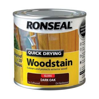 Ronseal Quick Drying Woodstain Gloss Dark Oak 250ml