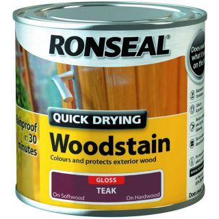 Ronseal Quick Drying Woodstain Gloss Teak 250ml