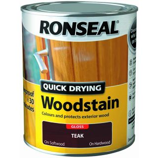 Ronseal Quick Drying Woodstain Teak Gloss 750ml