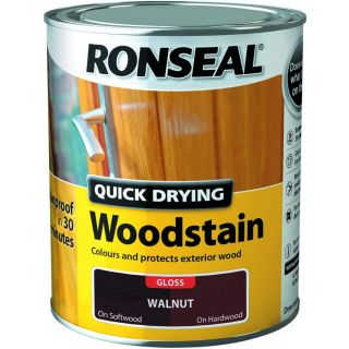Ronseal Quick Drying Woodstain Walnut Gloss 750ml