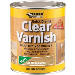 Everbuild Quick Dry Wood Varnish Matt Clear 750 ml