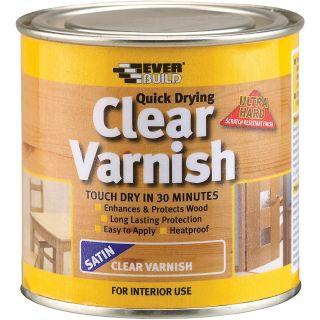 Everbuild Quick Dry Wood Varnish Satin Clear 250 ml