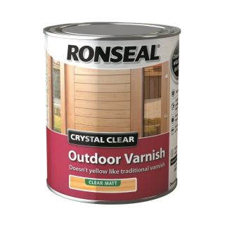 Ronseal Crystal Outdoor Matt Finish Varnish - clear 750 ml