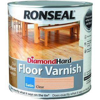 Ronseal Diamond Hard Floor Varnish Clear Satin 2.5L