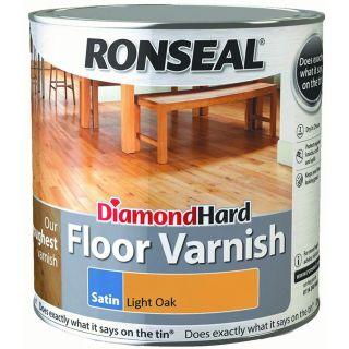 Ronseal Diamond Hard Floor Varnish Light Oak Satin 2.5L