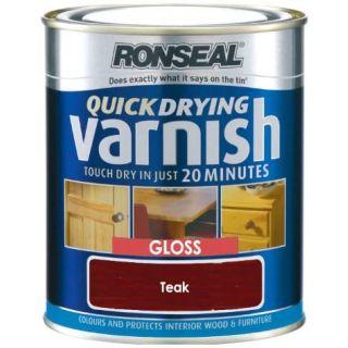 Ronseal Quick Dry Varnish Coloured Gloss - Teak 750ml