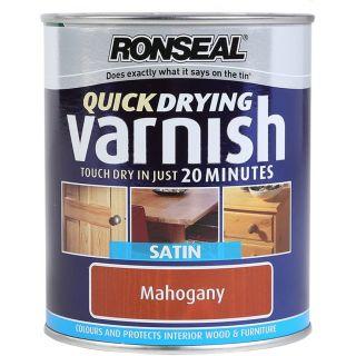 Ronseal Quick Dry Varnish Coloured Satin - Mahogany 750ml