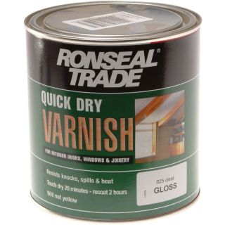 Ronseal Quick Dry Varnish Trade Clear Gloss 1L