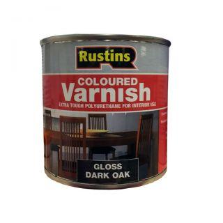 Rustins Gloss Varnish Polyurethane For Interior Wood Works Interior Clear/colour Dark Oak 250ml