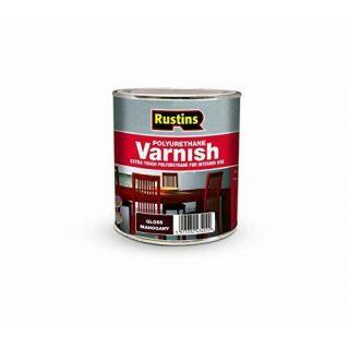 Rustins Gloss Varnish Polyurethane For Interior Wood Works Interior Clear/colour Mahogany 250ml