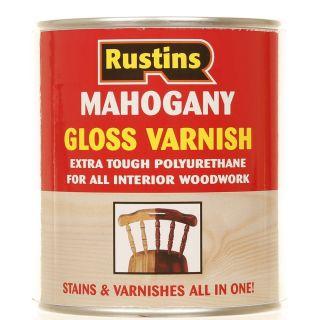 Rustins Gloss Varnish Polyurethane For Interior Wood Works Interior Clear/colour Mahogany 500ml