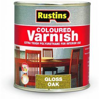 Rustins Gloss Varnish Polyurethane For Interior Wood Works Interior Clear/colour Oak 250ml