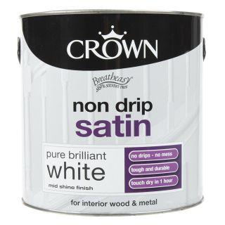Crown Non Drip Satin - Pure Brilliant White 2.5L