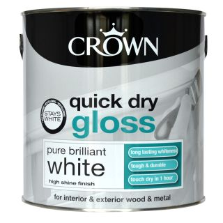 Crown Pure Brilliant White - Quick Drying Gloss Paint - 2.5L