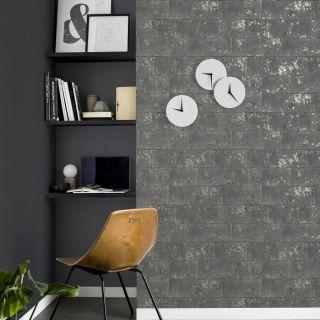 Rasch Metallic Brick Wallpaper Charcoal 248685