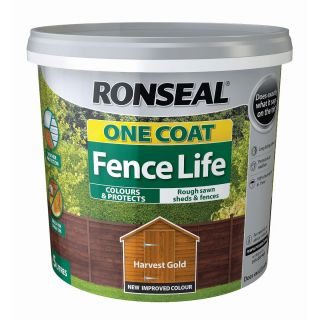 Ronseal One Coat Life - Quick Dry Garden Shed & Fence Paints - Harvest Gold 5L