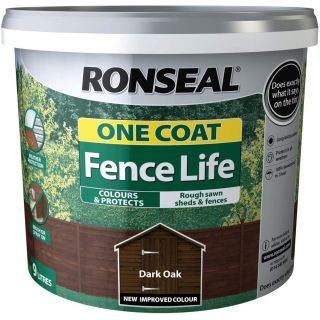Ronseal Fence Paint One Coat fence Life Dark Oak Shed and Fence Treatment 9L