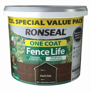 Ronseal One Coat Fence Life Shed and Fence Treatment 12L - Dark Oak
