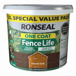 Ronseal One Coat Fence Life Shed and Fence Treatment 12L - Harvest Gold
