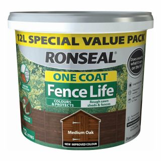 Ronseal One Coat Fence Life Shed and Fence Treatment 12L - Medium Oak
