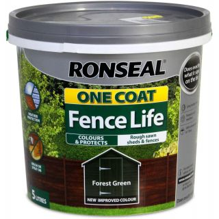 Ronseal One Coat Fence Life Shed and Fence Treatment 5L - Forest Green