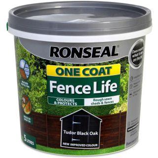 Ronseal One Coat Fence Life Shed and Fence Treatment 5L - Tudor Black Oak
