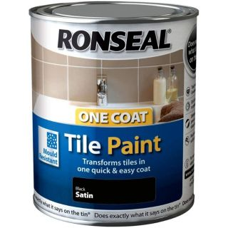 Ronseal One Coat Tile Paint 750ml - Black Satin