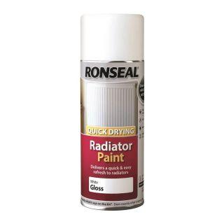 Ronseal Quick Drying Radiator Spray Paint - White Gloss 400ml