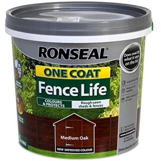 Ronseal One Coat Fence Life Shed and Fence Treatment 5L - Medium Oak