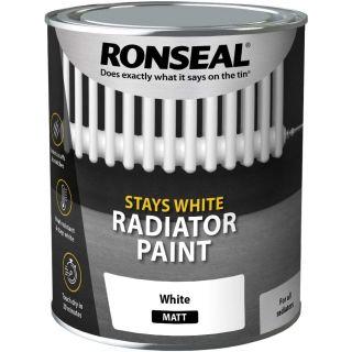 Ronseal Stays White Radiator Paint White Matt 750ML