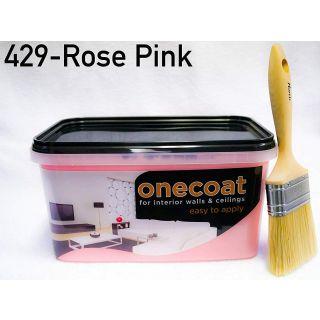 One Coat Matt Emulsion Paint - Rose Pink 5L