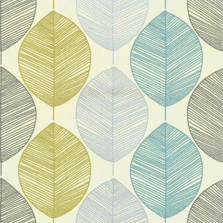 Arthouse Retro Scandi Leaf Designer Motif Wallpaper Teal Green 408207