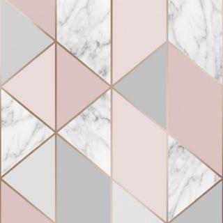Sublime Marble Blush Geometric Wallpaper