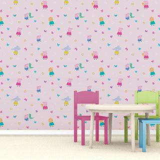 Peppa Pig Kids Girls Baby Bedroom Pink Wallpaper - WP4-PEP-PIG-12