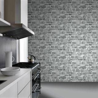 GREY STONE WALL WALLPAPER NEW FEATURE WALL BRICK  - RASCH 265620