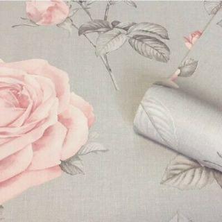 Belgravia Luxury Floral Flower Roses Textured Wallpaper Linen - Blush/Grey- 9766